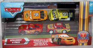 Disney / Pixar CARS Movie Exclusive 155 Die Cast Piston Cup Nights Speedway 4Pack Octane Gain No. 58, Lightning McQueen, Leak Less No. 52 & Shifty Drug No. 35 Toys & Games