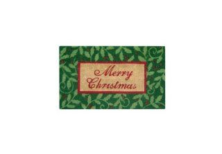 Geo Crafts G156 PVC Backed Coco Door Mat, Holly Merry Christmas (Discontinued by Manufacturer)  Doormats  Patio, Lawn & Garden