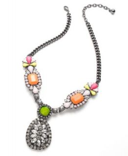Bar III Gold Tone Colorful Bead and Crystal Frontal Necklace   Fashion Jewelry   Jewelry & Watches