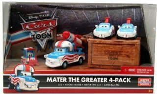 Disney / Pixar CARS TOON 155 Die Cast Car Mater The Greater 4Pack Lug, Rocket Mater, Mater Fan Mia Mater Fan Tia Toys & Games