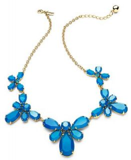 kate spade new york Necklace, Gold Tone Blue Graduated Stone Frontal Necklace   Fashion Jewelry   Jewelry & Watches