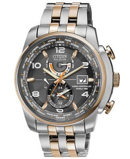 Citizen Mens Eco Drive World Time A T Two Tone Stainless Steel Bracelet Watch 43mm AT9016 56H   Watches   Jewelry & Watches