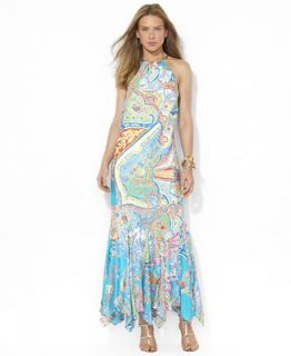 Lauren Ralph Lauren Dress, Sleeveless Paisley Print Silk Halter   Dresses   Women