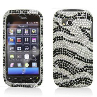 Aimo Wireless LGMTQPCDI152 Bling Brilliance Premium Grade Diamond Case for LG MyTouch Q C800   Retail Packaging   Black/White Zebra Cell Phones & Accessories