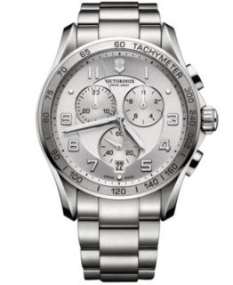 Victorinox Swiss Army Mens Chronograph Classic XLS Stainless Steel Bracelet Watch 45mm 241652   Watches   Jewelry & Watches