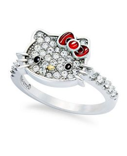 Hello Kitty Sterling Silver Ring, Small Pave Crystal Face Ring   Rings   Jewelry & Watches