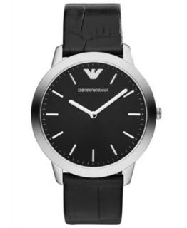 Emporio Armani Watch, Mens Black Leather Strap AR2411   Watches   Jewelry & Watches