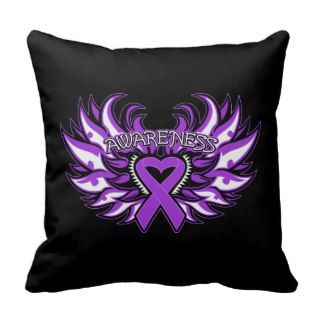 Fibromyalgia Awareness Heart Wings Pillows