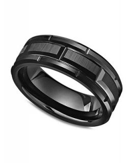 Triton Mens Black Tungsten Carbide Ring, Matrix Band   Rings   Jewelry & Watches