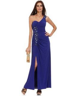 Xscape Dress, Sleeveless One Shoulder Beaded Gown   Dresses   Women