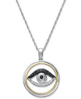 14k Gold and Sterling Silver Necklace, White and Black Diamond Evil Eye Pendant (1/10 ct. t.w.)   Necklaces   Jewelry & Watches