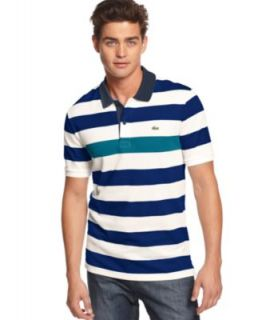 Lacoste Shirt, Short Sleeve Color Block Pique Polo Shirt   Polos   Men