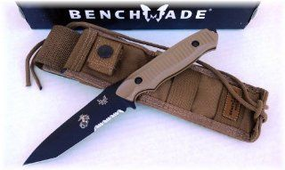 Benchmade 141 Nimravus Tanto Knife   USMC/EGA Marine Corps Edition   154CM Blade Steel   Molle Sheath   Coyote Colored Handle  Tactical Fixed Blade Knives  Sports & Outdoors
