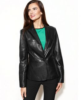 Anne Klein Leather Quilted Shoulder Blazer   Jackets & Blazers   Women