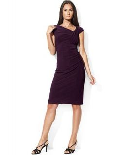 Lauren Ralph Lauren Petite Size Dress, Cap Sleeve Shirred Jersey   Dresses   Women
