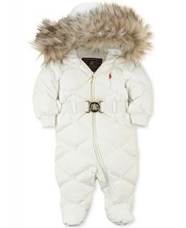 Ralph Lauren Baby Snowsuit, Baby Girls Faux Fur Trimmed Down Bunting   Kids