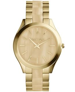 Michael Kors Womens Runway Horn and Gold Tone Stainless Steel Bracelet Watch 42mm MK4285   Watches   Jewelry & Watches