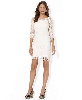 Lauren Ralph Lauren Three Quarter Sleeve Illusion Lace Dress   Dresses   Women