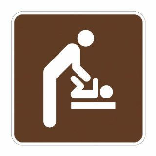 "Tapco RS 137 Engineer Grade Prismatic Square National Park Service Sign, Legend ""Baby Changing Station, Men's Room (Symbol)"", 12"" Width x 12"" Height, Aluminum, Brown on White Industrial Warning Signs"