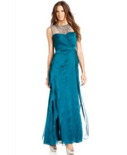 Patra Petite Dress, Sleeveless Pleated Soutache Gown   Dresses   Women