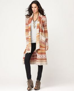 Free People Sweater, Yesterdays Smile Open Front Long Sleeve Striped Pocket Cardigan   Sweaters   Women