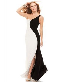 Betsy and Adam Dress, Sleeveless One Shoulder Jeweled Gown   Dresses   Women