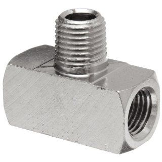 "Polyconn PC132NB 4 Nickel Plated Brass Pipe Fitting, Branch Tee, 1/4"" NPT Male x 1/4"" NPT Female (Pack of 10) Industrial Pipe Fittings"