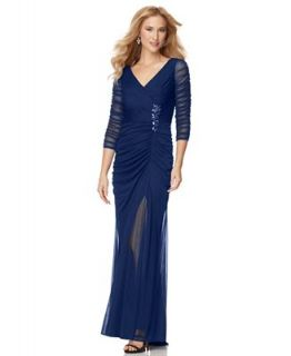 Adrianna Papell Petite Dress, Three Quarter Sleeve Ruched Evening Gown   Dresses   Women