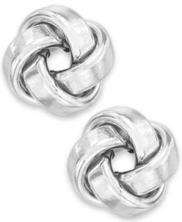 Diamond Earrings, 10k White Gold and Diamond Braided Button Earrings (1/5 ct. t.w.)   Earrings   Jewelry & Watches