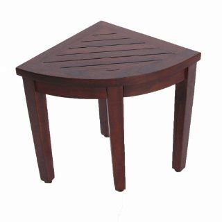 Oasis Bathroom Teak Corner Shower Seat Stool Chair Bench  Sitting, Storage, or Foot Rest Health & Personal Care