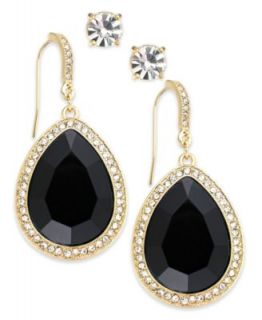 INC International Concepts Gold Tone Black Diamond Stone and Pave Edge Teardrop and Round Clear Crystal Stud Earring Set   Fashion Jewelry   Jewelry & Watches