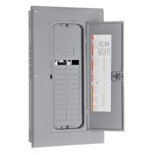 Square D by Schneider Electric HOM24L125TC Homeline 125 Amp 24 Space 24 Circuit Indoor Main Lugs Load Center with Cover and Factory Installed Ground Bar   Electrical Boxes