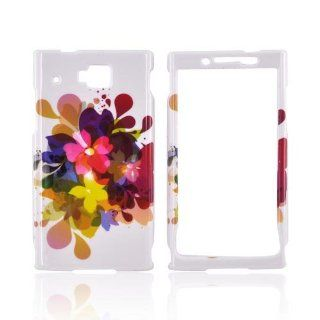 [Talon] Colorful Water Flowers on White Huawei Ideos X6 Plastic Case Cover [Anti Slip] Supports Premium High Definition Anti Scratch Screen Protector; Durable Fashion Snap on Hard Case; Coolest Ultra Slim Case Cover for Ideos X6 Supports Huawei X6 Devices