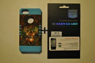 For AppleNew iPhone 5 5G 5th Generation Hybrid Hard Cover Mossy Oak Deer Camo Snap on +Light Blue Rubber Case With Free Screen protector (Front and Back) Anti Glare by Screen Guard Classic Collection Cell Phones & Accessories