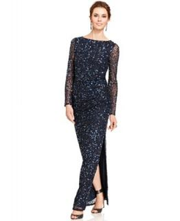Patra Long Sleeve Sequin Gown   Dresses   Women