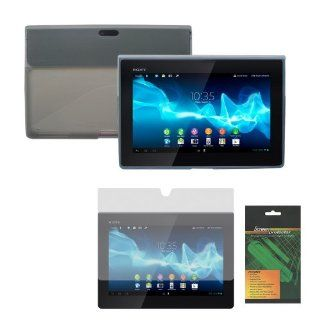 iShoppingdeals   Smoke/Gray Rubber TPU Cover Skin Case and Anti Glare Matte Screen Protector for Sony Xperia Tablet S (SGPT121US/SGPT122US/SGPT123US) Computers & Accessories