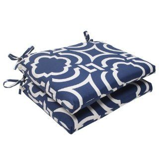 "Set of 2 Geometric Navy Sky Blue Outdoor Squared Patio Seat Cushions 18.5""  Patio Furniture Cushions  Patio, Lawn & Garden"