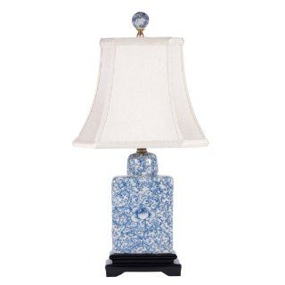 Soft Blue & White Rectangular Porcelain Accent Table Lamp