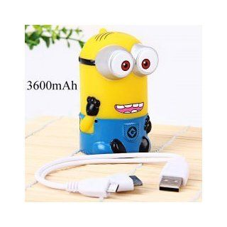 Despicable Me   Minion Power Bank 3600mAh External Battery with 2 in 1 Cable of 30 Pin, Micro 5 Pin Adapter for Samsung, Sony Ericsson, Blackberry, HTC, Nokia, LG, Motorola, Apple