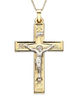 14k Gold Two Tone Large Crucifix Pendant   Necklaces   Jewelry & Watches