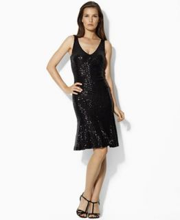 Lauren by Ralph Lauren Dress, Sleeveless V Neck Sequin Sheath   Dresses   Women
