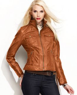 GUESS? Leather Motorcycle Jacket   Jackets & Blazers   Women