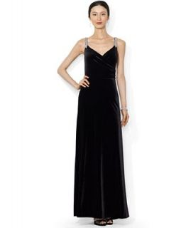 Lauren Ralph Lauren Sleeveless Velvet Sweetheart Gown   Dresses   Women