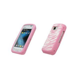 Premium Pink and White Zebra Design Silicone Gel Skin Cover Case for Nokia Nuron 5230 [Accessory Export Brand Packaging] Cell Phones & Accessories