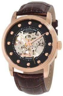 Stuhrling Original Men's 107D.3345K1 Classic Helios Automatic Skeleton Brown Watch Watches