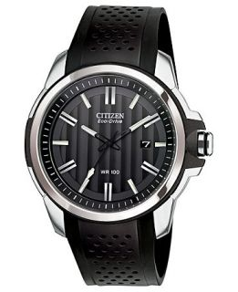 Citizen Mens Drive from Citizen Eco Drive Black Rubber Strap Watch 45mm AW1150 07E   Watches   Jewelry & Watches