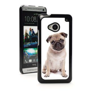 HTC One M7 Black Hard Back Case Cover MB105 Color Cute Pug Puppy Dog Cell Phones & Accessories