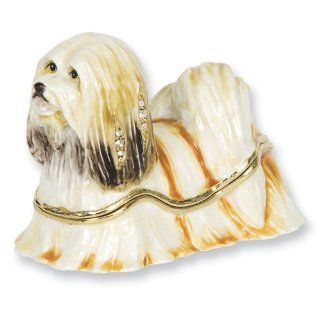 Enameled & Crystal Maltese Dog Trinket Box Jewelry Jewelry