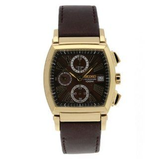 Seiko Men's SNDZ78 Chronograph Brown Dial Leather Strap Watch Watches