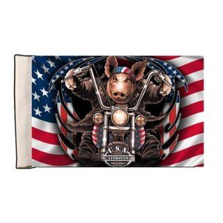 "Great American Hawg 6"" x 9"" Hog Pig Motorcycle Biker USA American Flag FLA 0006  Outdoor Flags  Patio, Lawn & Garden"
